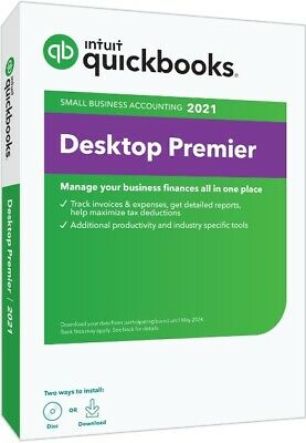 Contractor Edition - QuickBooks Premier 2021 – 1 User – Downloadable or Ship CD