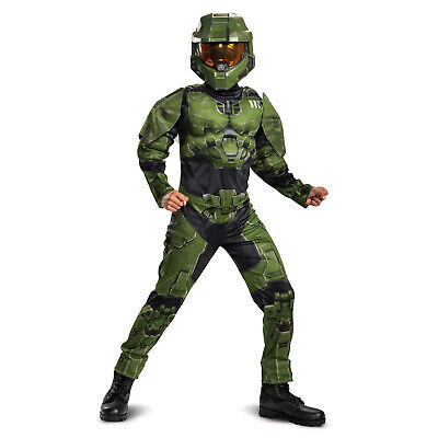 Boys Master Chief HALO Halloween Costume Padded Muscle Chest Jumpsuit Mask S-XL