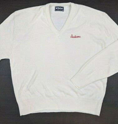 VTG McBriar Indiana University V Neck Sweater XL Made in USA 80s 90s Hoosiers