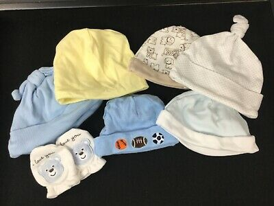 Lot Of 6 Gerber, Carters, Halo Baby Infant Hat Cap Beanie