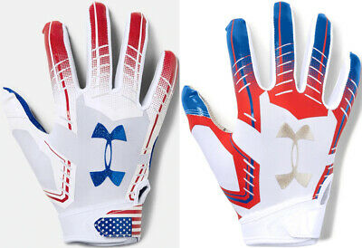 Youth Under Armour F6 Metallic USA Limited Edition Novelty Football Gloves YLG