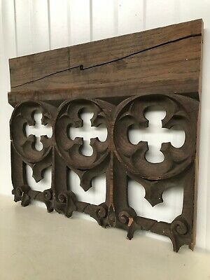 Stunning 19th C. Gothic Tracery Fragment/ panel in oak nr2