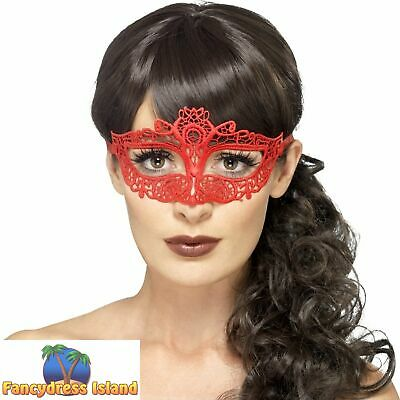 Lace Filigree Eyemask Red Burlesque Masquerade Mask Womens Fancy Dress Costume