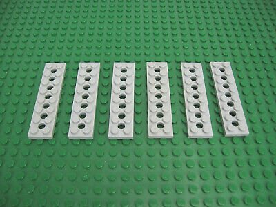 Lego 6x plate modified 1x2 pin hole on bottom Gray//light gray 18677 new courrier électronique