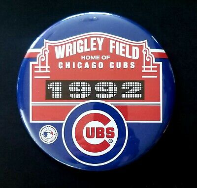 """Wrigley Field Home Of Chicago Cubs 6"""" 1992 Pinback Button Pin Badge"""