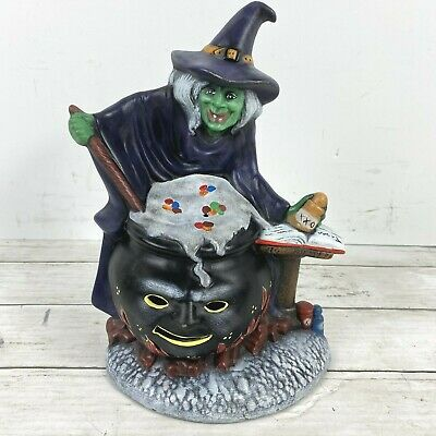 SMALL OLD LOOK CERAMIC VICTORIAN HALLOWEEN WITCH LIGHTED VTG INSPIRED DECORATION
