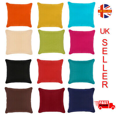 "Cushion Covers Colourful Plain Dyed 100/% Cotton Home Sofa Décor Size 16/"" 18/"" 20/"""
