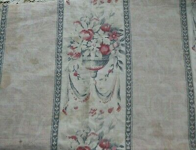 """Antique French c1900 Linen Floral & Swags Home Dec Faded Fabric~L-23"""" X W-31"""""""