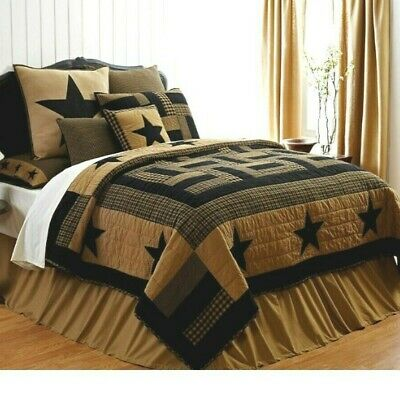 Hand Quilted Shams Black and Tan 3-pc DELAWARE STAR QUEEN QUILT SET
