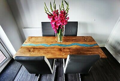 Rustic Dining Table Wood And Epoxy Resin River Table Top Industrial Dining Table 450 00 Picclick Uk