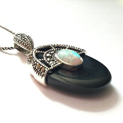 Superb Art Deco Style Sterling Silver Marcasite and Cultured Dark Opal Pendant