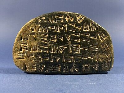 Ancient Near Eastern Black Stone Tablet With Early Form Of Writing Circa 3000BCE