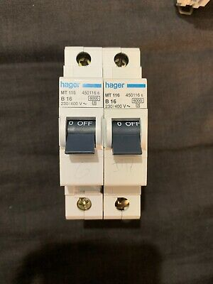 HAGER MT 116 B16 16 AMP 450116 6KA SINGLE POLE MCB CIRCUIT BREAKER.