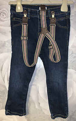 Boys Age 18-24 Months - Monsoon Jeans With Braces