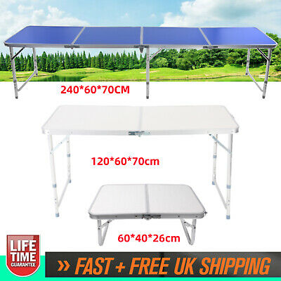 2 4 8ft Folding Table Trestle Camping Party Picnic BBQ Stall Garden Outdoor