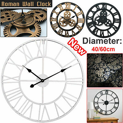 40/60Cm Extra Large Roman Wall Clock Numerals Skeleton Big Giant Open Face Round