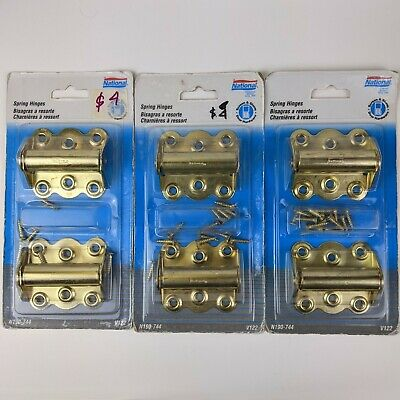 NEW National Hardware N114-785 2 Pack 3 Inch Steel Brass Finish Spring Hinges