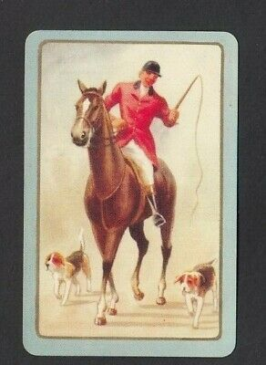 2 Single VINTAGE Swap//Playing Cards DOGS HUNT HOUNDS JUMP FENCE