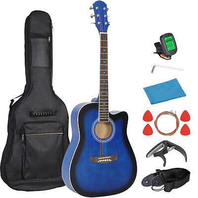 """Beginner Acoustic Guitar 41"""" Blue Full Size Set with Case Strap Capo Strings"""