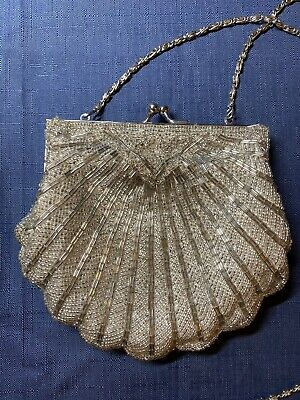 1960s coral seashell bag with beaded strap