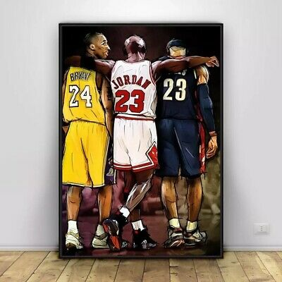 Michael Jordan Kobe Bryant & Lebron James Poster Basketball Legends Wall Art