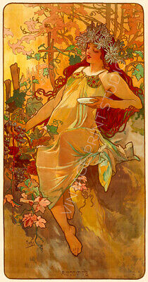 Melancholy 1897 Alphonse Mucha Art Nouveau Rolled Canvas Giclee Print 24x32 in.
