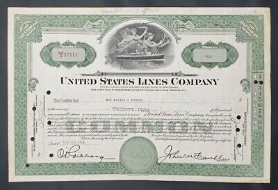 1954 Shipping Stock Certificate: United States Lines Company, 22 Shares