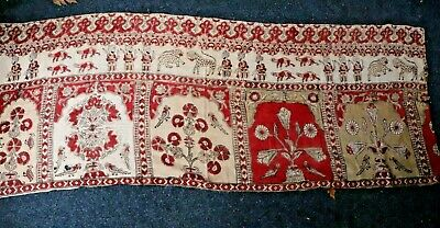 """Antique 19thC Block Printed Linen Fabric~Found in France~L-32"""" X W-86"""""""