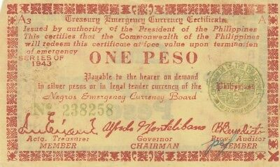 NEGROS EMERGENCY CURRENCY BOARD PHILIPPINES WAR-II NOTE ONE 1 PESO 1944 P-S672