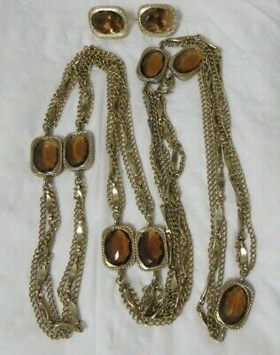 Sarah Coventry Long Necklace Golden Embers Amber Tone Crystal Bezel Flapper 53 Vintage 1967
