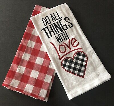 Set Of 2 New Farmhouse Style Kitchen Towels Valentine S Day Buffalo Check Heart 9 63 Picclick Uk