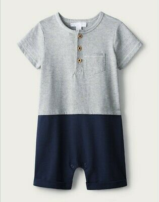 The Little White Company Boys Henley Romper Sleepsuit Age 6-9 Months