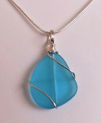 Glass Pendant Blue Sterling Silver USA Jewelry Wire Wrapped Handmade Green Tammie Mabe Artisan Jewelry Lampwork Gift Necklace