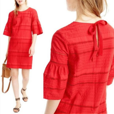 J Crew Bright Red Cotton Embroidered Eyelet 3/4 Flutter Sleeve Shift Dress Sz 4