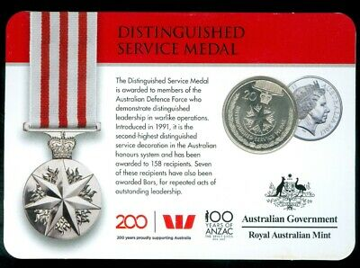2017 Australia 20c Coin - Legends Of The Aztec - DISTINGUISHED SERVICE MEDAL BU