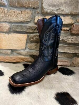 Tony Lama TRAVIS ANTIQUE TAN Smooth Ostrich Cowboy Boots Square Toe O4176