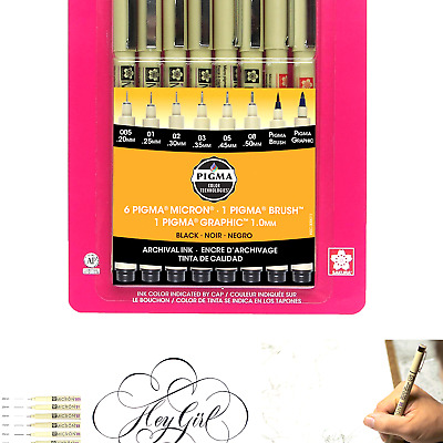 Black Sakura Pigma 30067 Micron Blister Card Ink Pen Set 8//Set-2 Pack