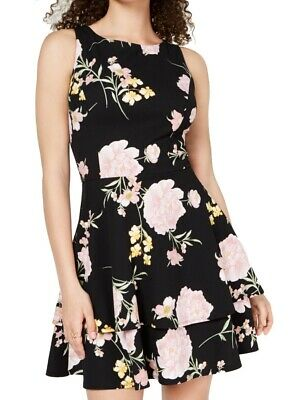 Darlin Womens Black Floral Tiered Night Out Party Dress Juniors 3//4 BHFO 5894 B