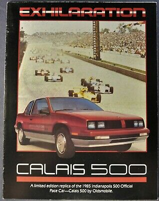 """OLDSMOBILE CALAIS OFFICIAL PACE CAR INDY 500 1985 DEALERSHIP POSTER 25/"""" X 38/"""""""