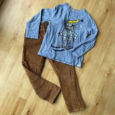 Gap Boys Cord Jeans TanTrousers & Long Sleeved Blue T-shirt Age 5