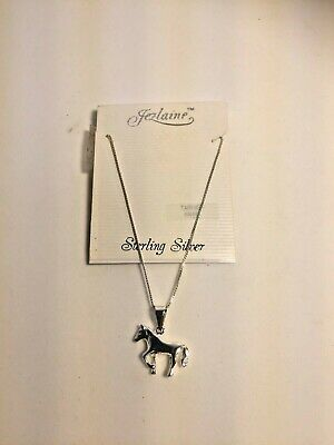 Vintage Jezlaine 925 Sterling Silver Horse Pendant with Chain Tarnish Free