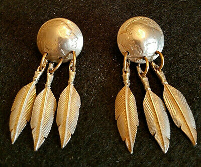 Hand Cut Buffalo Coin Mounted as Clipon Earrings with a Dangle Feather