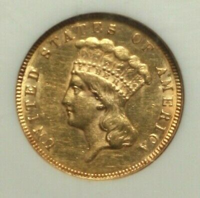 1874 $3 Gold Princes NGC AU58 Almost Uncirculated