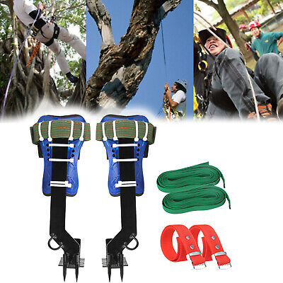 Tree Climbing Spike Set 2 Gears Safety B Adjustable Lanyard Rope Rescue Belt CA
