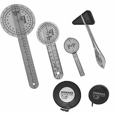 Goniometer Physical Therapy Complete Set W/Bonus Reflex Hammer Including