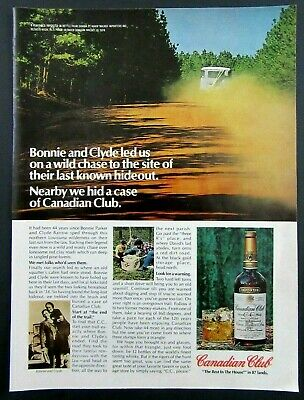 1978 CANADIAN CLUB Canadian Whisky Magazine Ad -Bonnie & Clyde hideout.