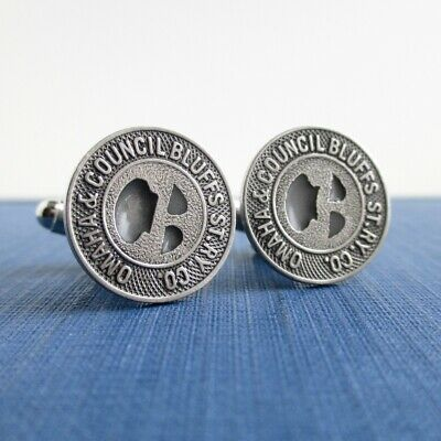 Repurposed Vintage Coins Omaha /& Council Bluffs Railway Transit Token Cuff Links