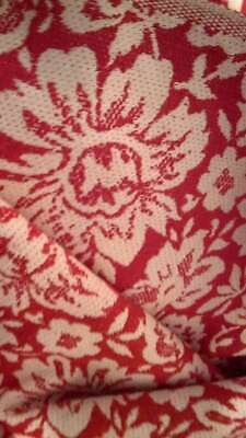 """Vintage Red and White Upholstery fabric. 52.4 wide,6.6 total includes 51"""" free"""