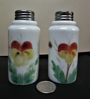 EAPG Victorian, Hand Painted Pansies, Creased Neck  Salt & Pepper  Shakers  EB76