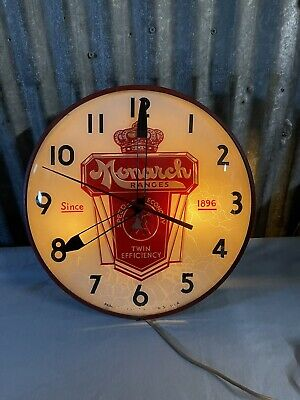 Vintage Monarch Ranges Lighted Sign Clock Pam Clocks Brooklyn Ny Stove (H1)